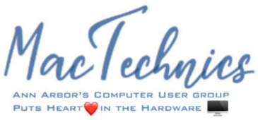 MacTechnics logo and tagline Ann Arbor's Computer User Group puts Heart in the Hardware